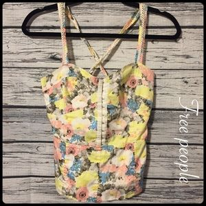 Free people yellow floral bustier peplum top